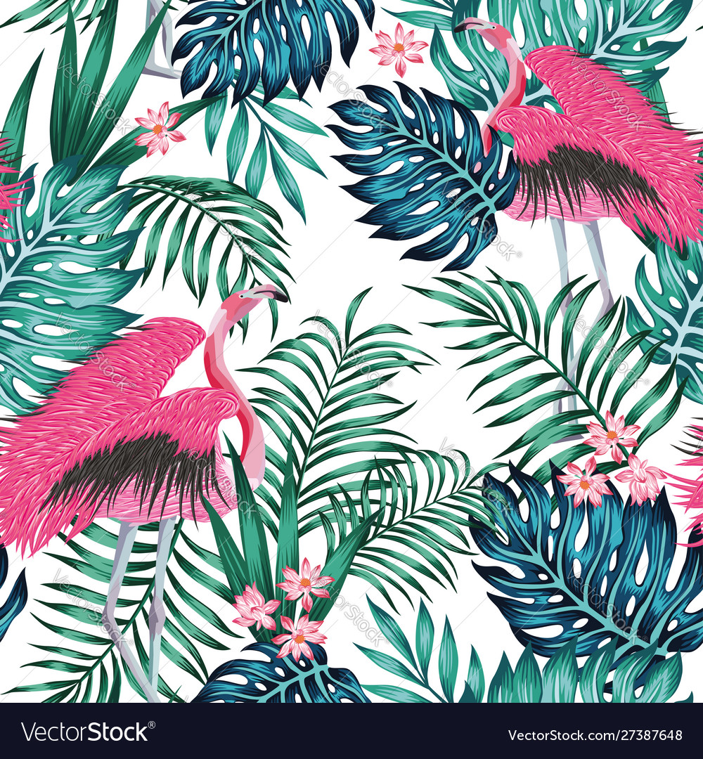 Pink flamingo tropical blue green leaves red