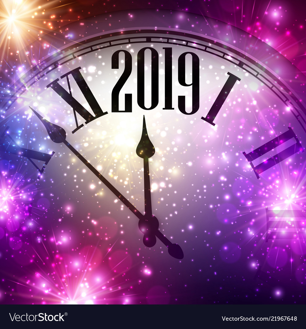 purple shiny 2019 new year background with clock vector image