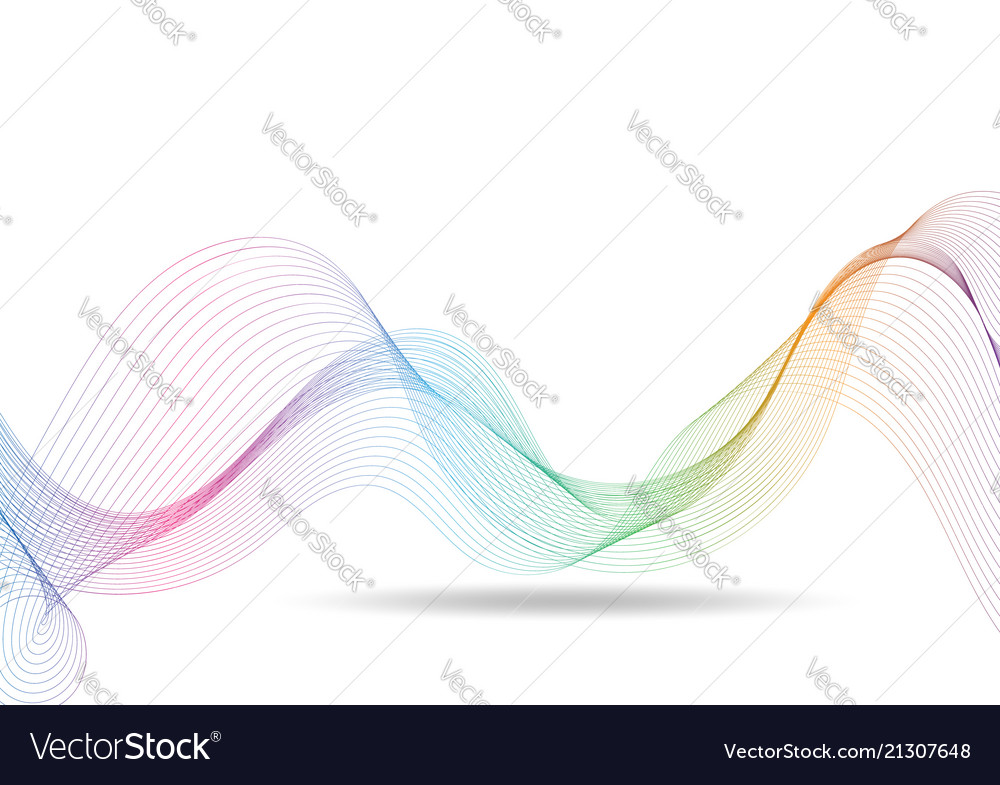 Rainbow waves lines gradient colorful on white