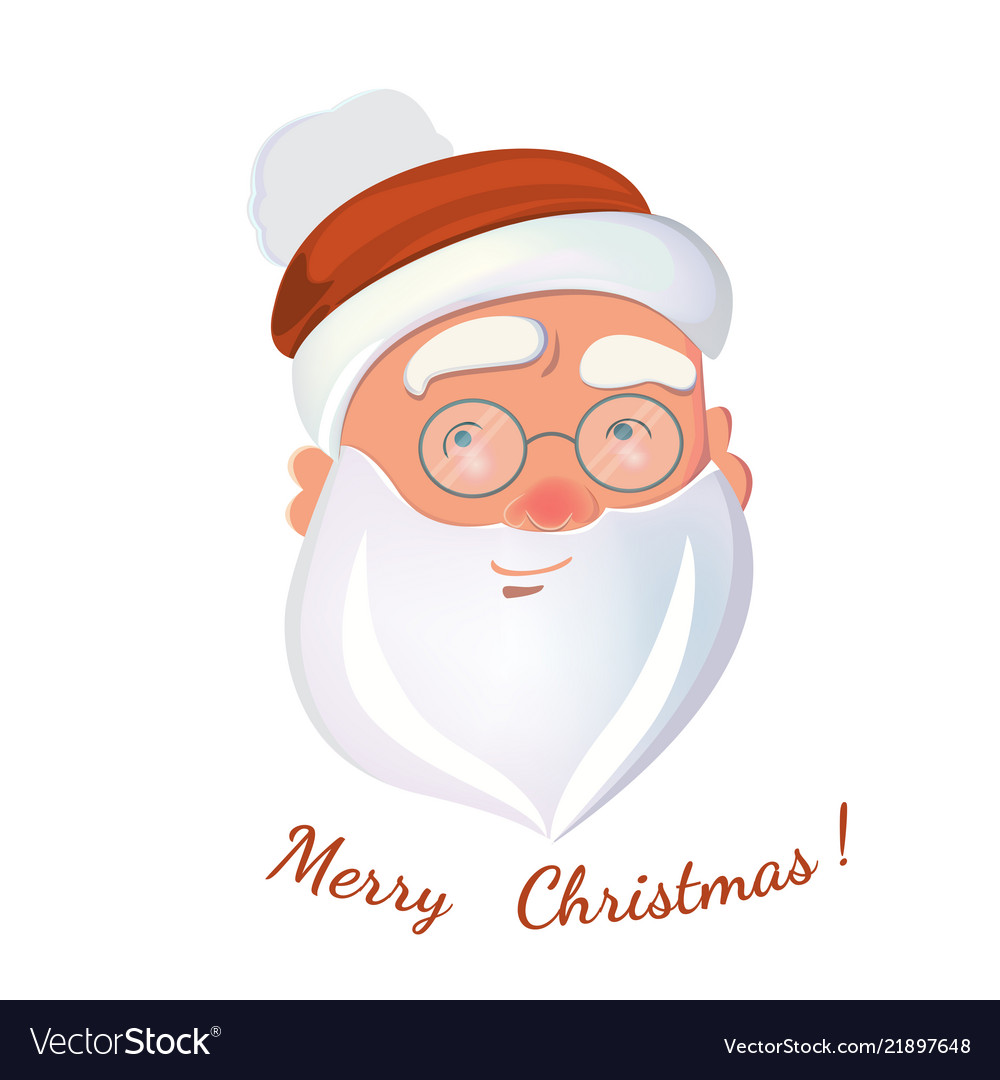 Santa claus face isolated on white background