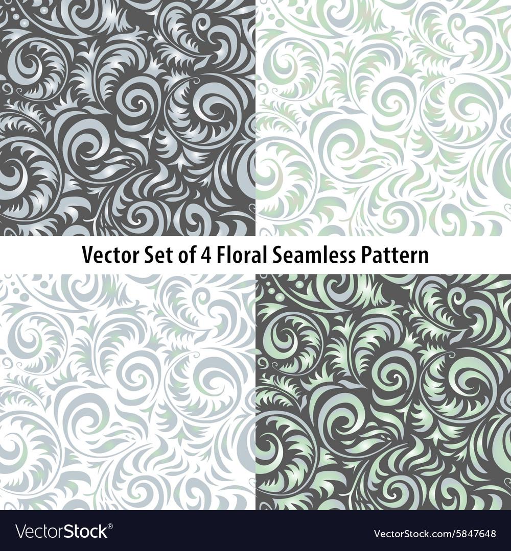 Seamless patterns set floral grey