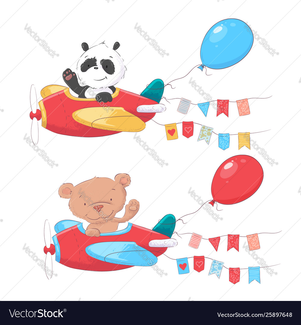 Set cartoon cute animals panda and bear on
