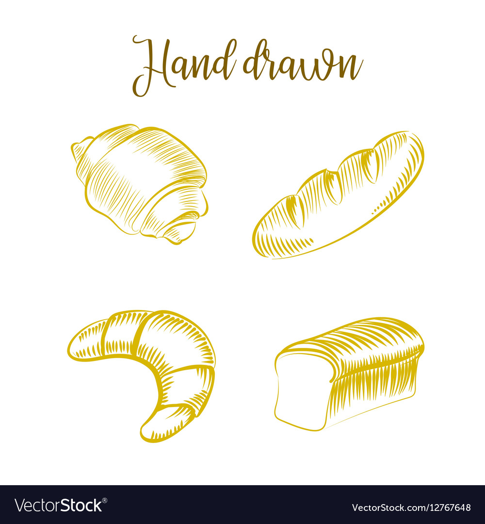 Set of Bakery products hand drawn sketch different