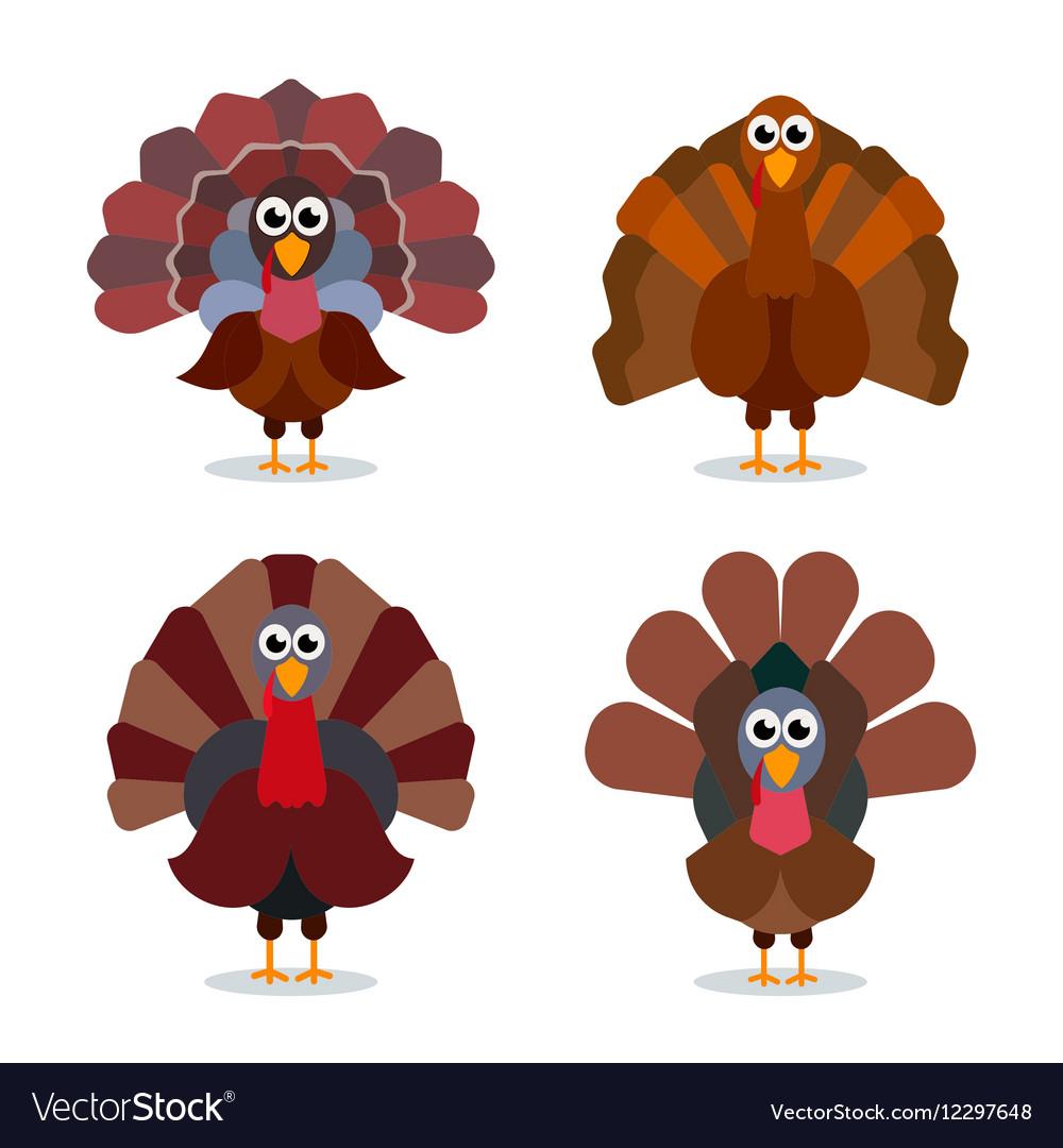Turkey cartoon collection Happy Thanksgiving