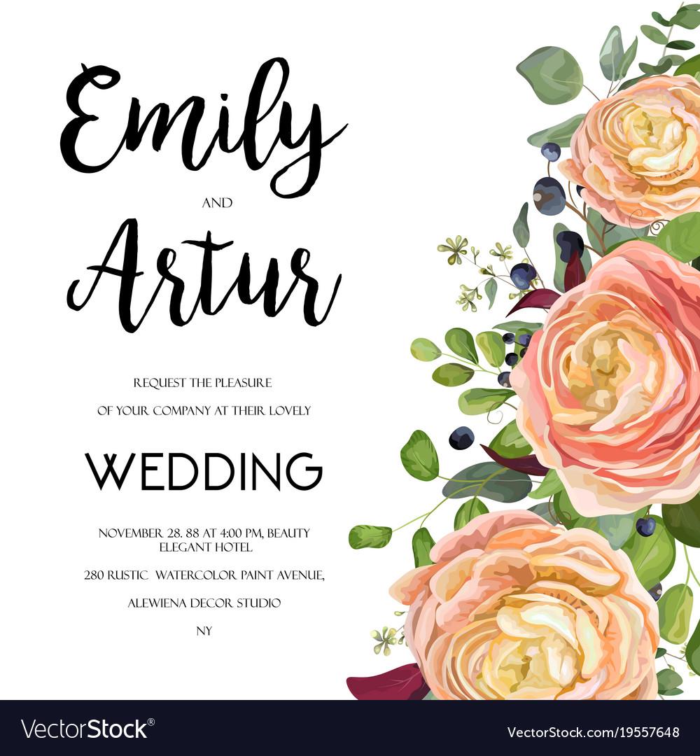 Flowers Vector Design Wedding Invitations Wedding: Wedding Floral Invite Card Design With Flowers Vector Image