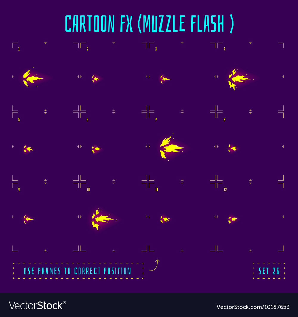 Animation frames or muzzle flash sprites vector image