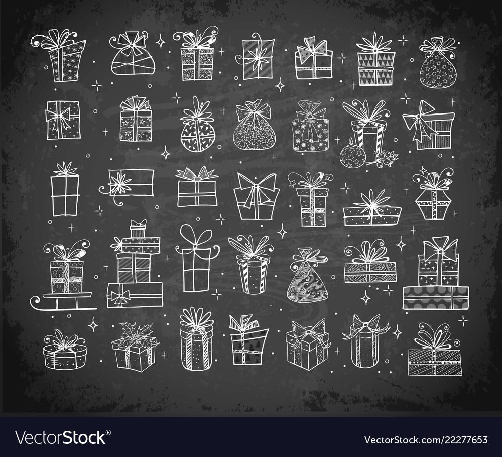 Big set doodle christmas gift boxes on