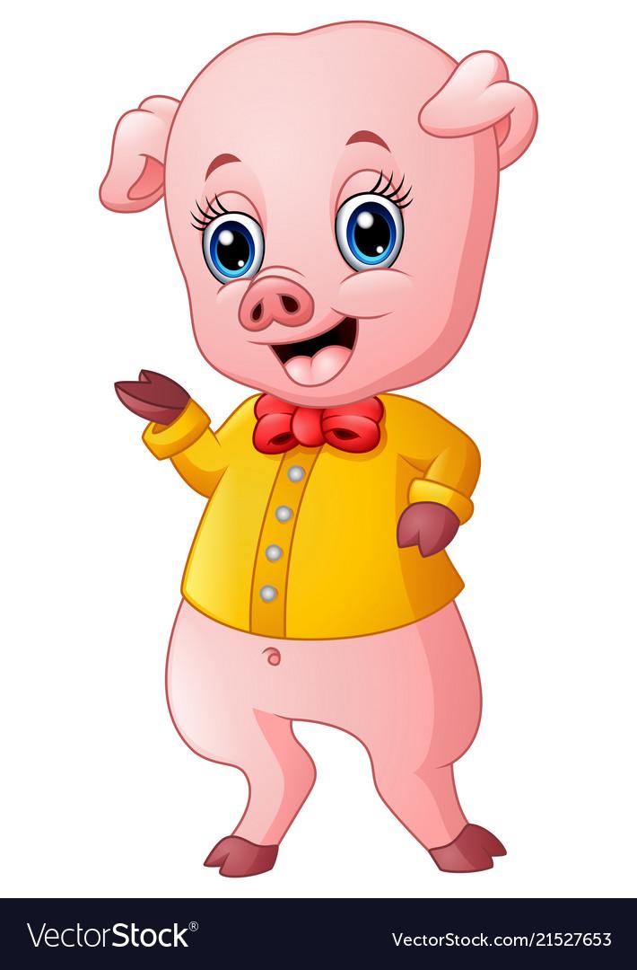 Cartoon pig raising his arms