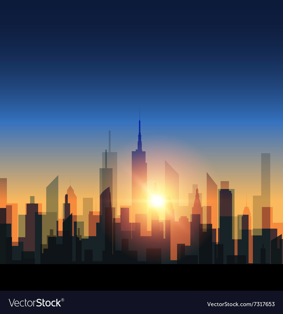 Cityscape with sunset