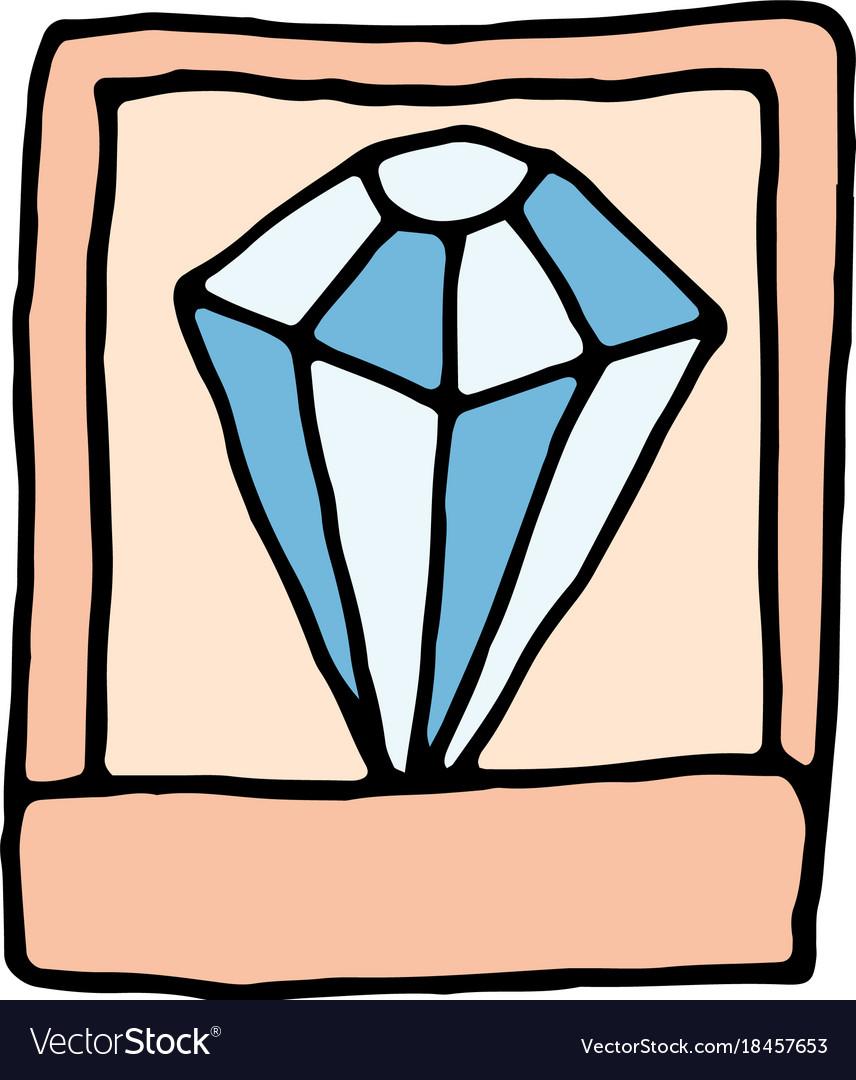 Diamond in a casket cartoon icon