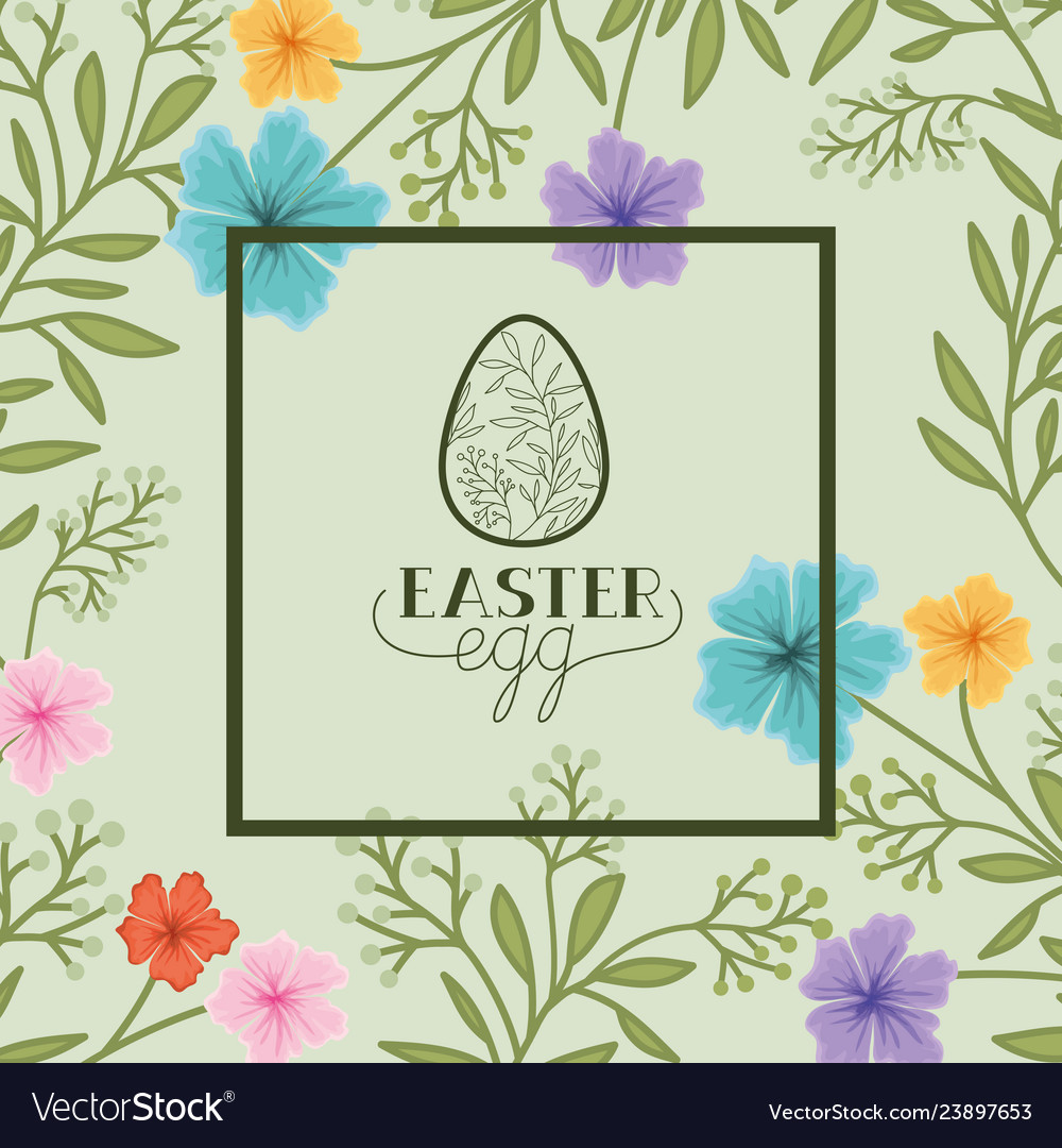 Happy easter egg frame with handmade font and
