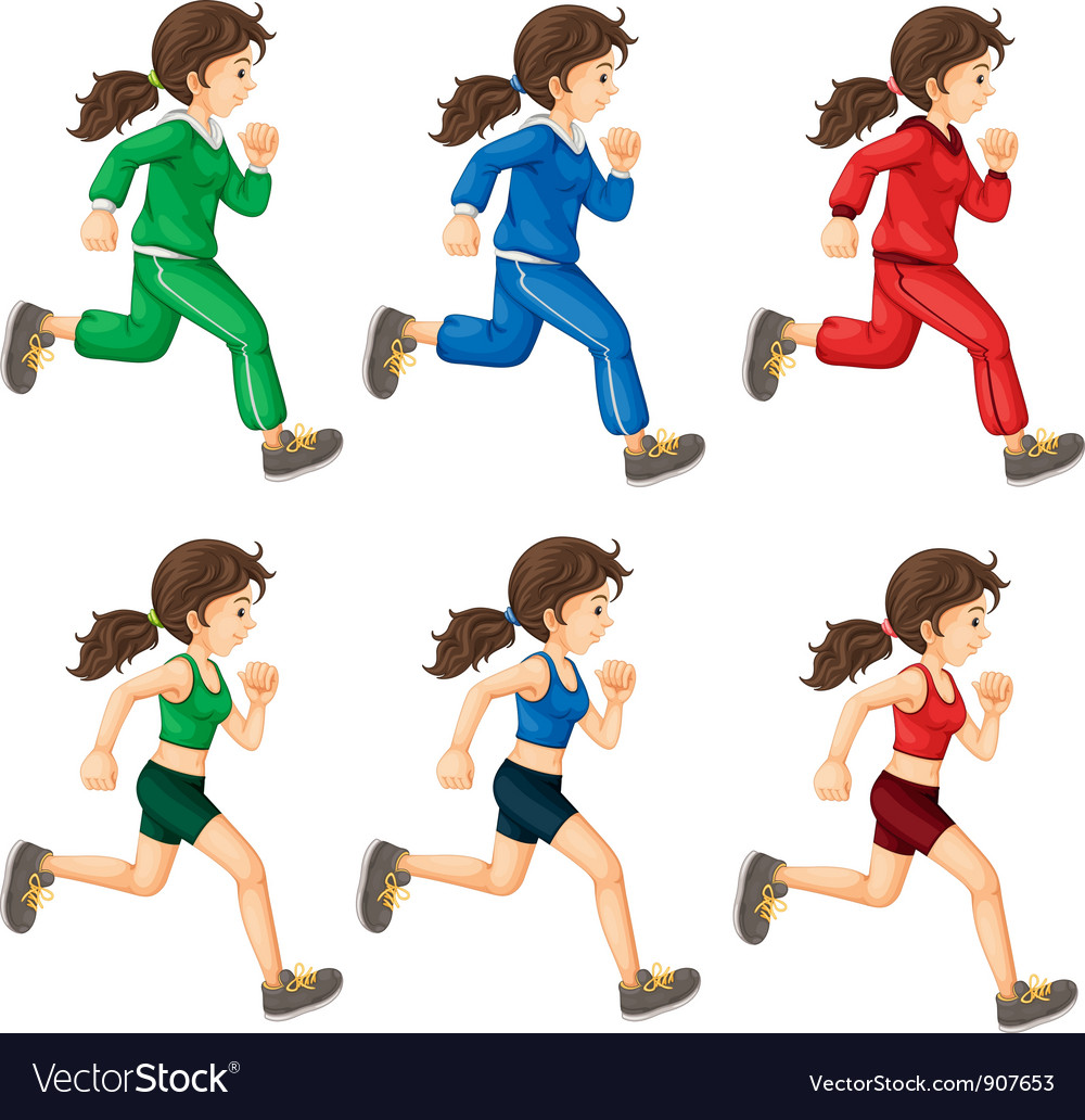 Lady running vector image