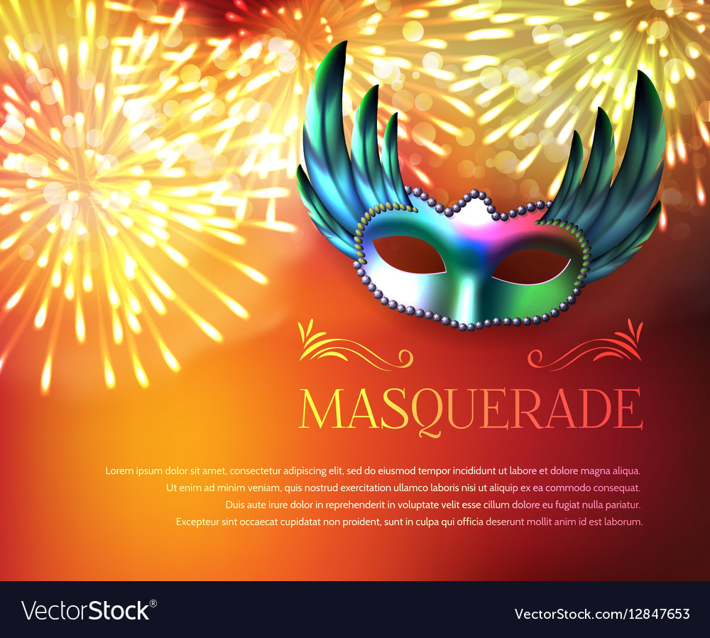 masquerade fireworks display poster royalty free vector