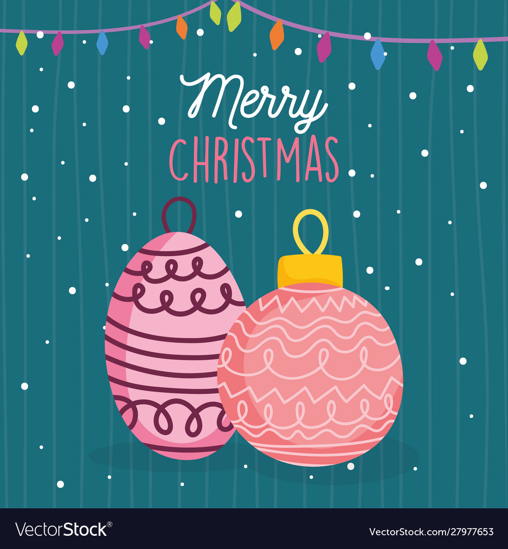 Merry christmas celebration balls lights snow