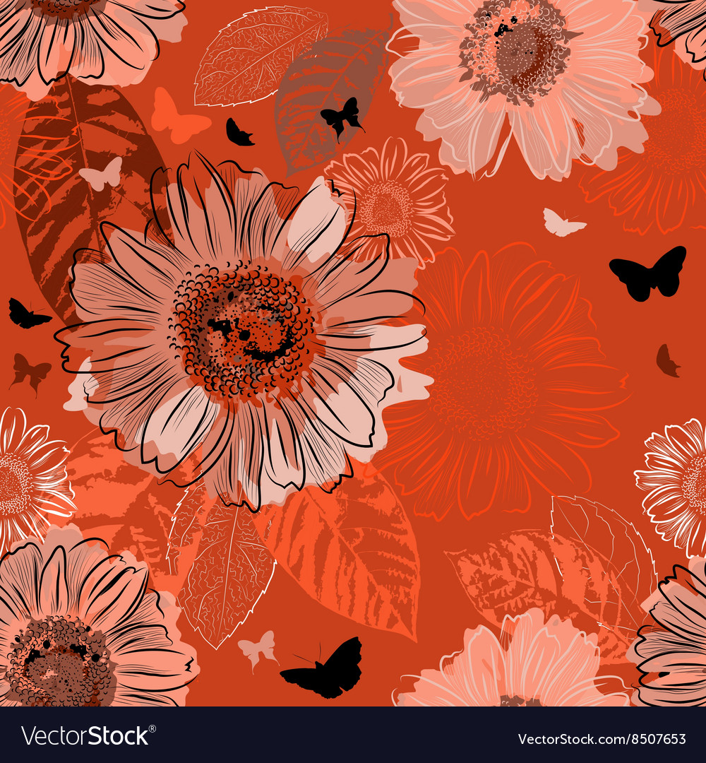 Seamless Orange Background with Chamomiles vector image