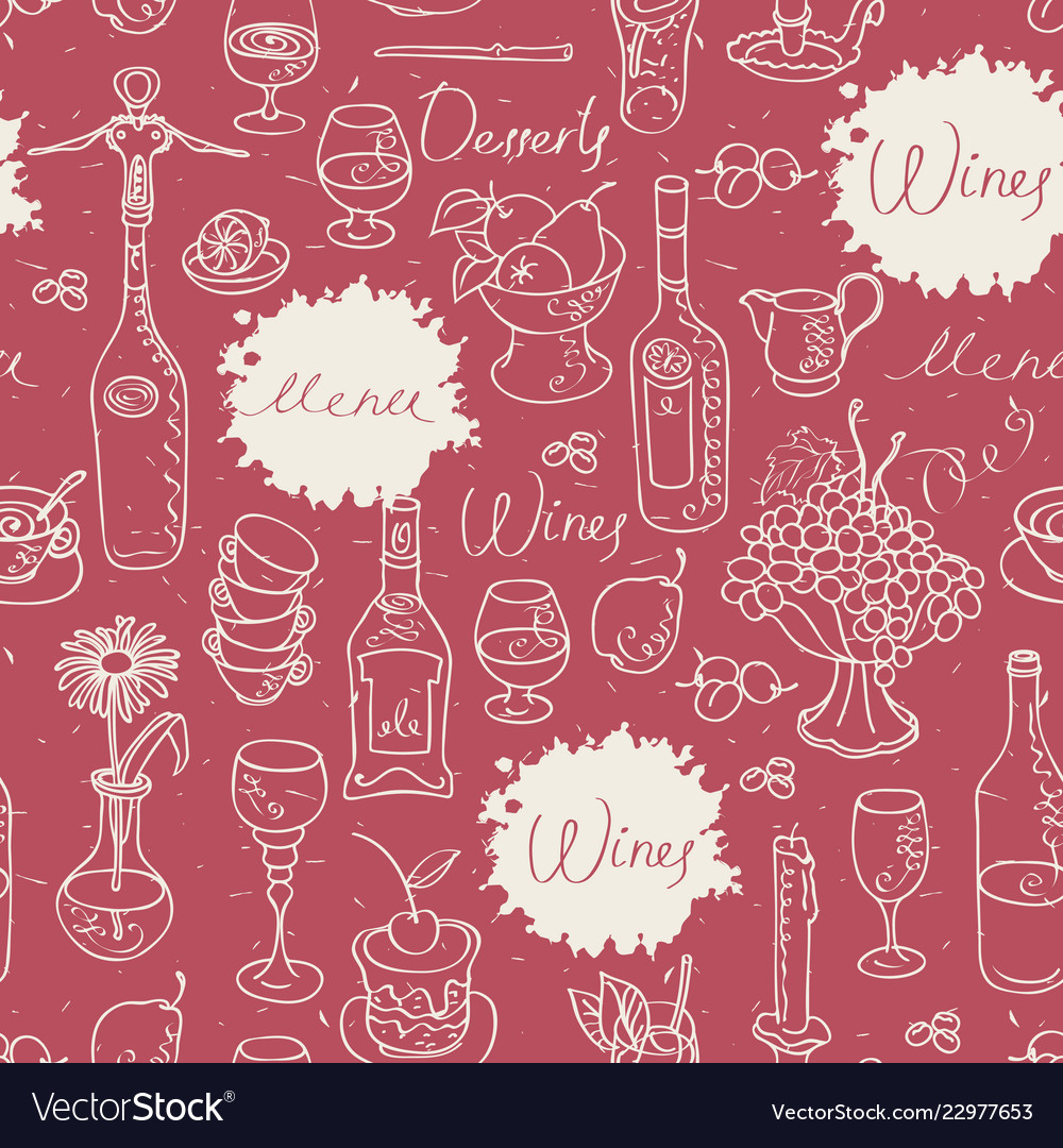 Seamless pattern on the theme of food and drink