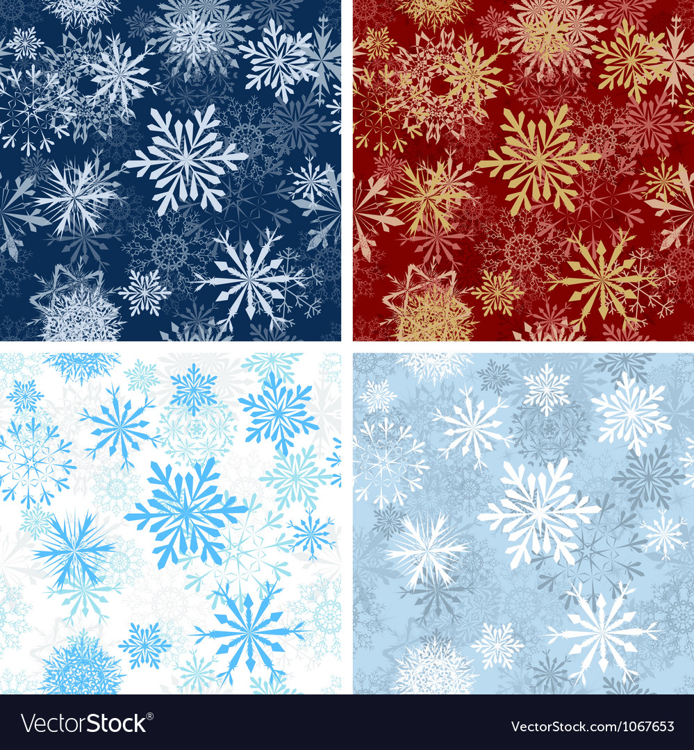 Set of Seamless Snowflake Patterns