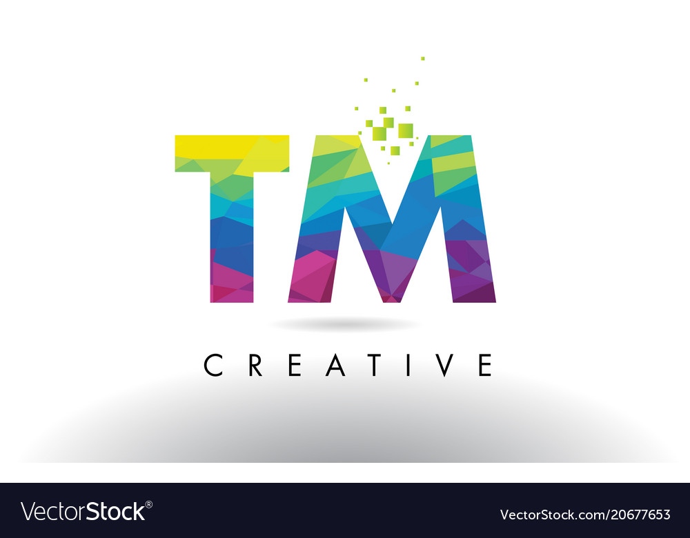 Tm T M Colorful Letter Origami Triangles Design Vector Image