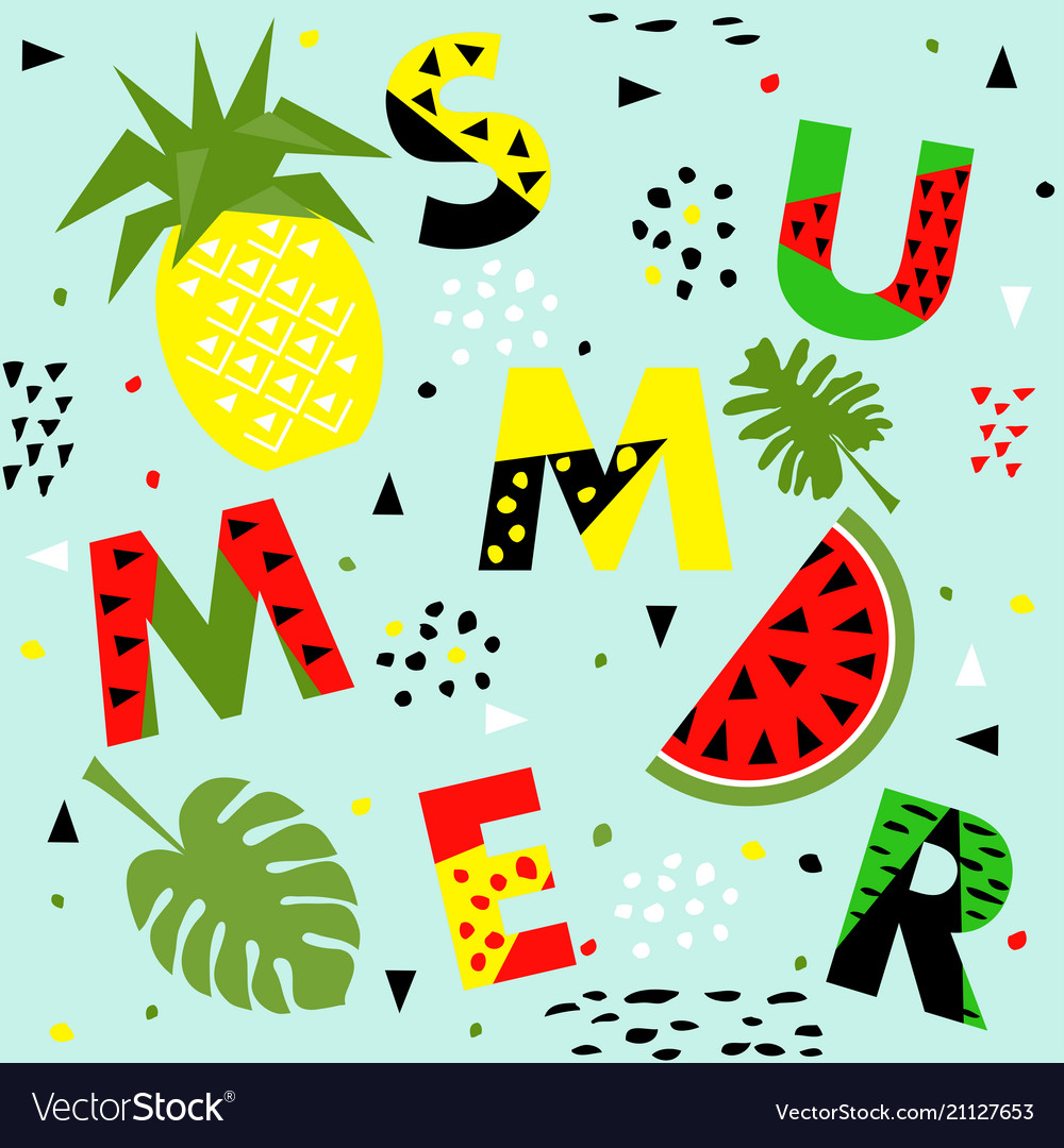 Trendy seamless memphis style watermelon and