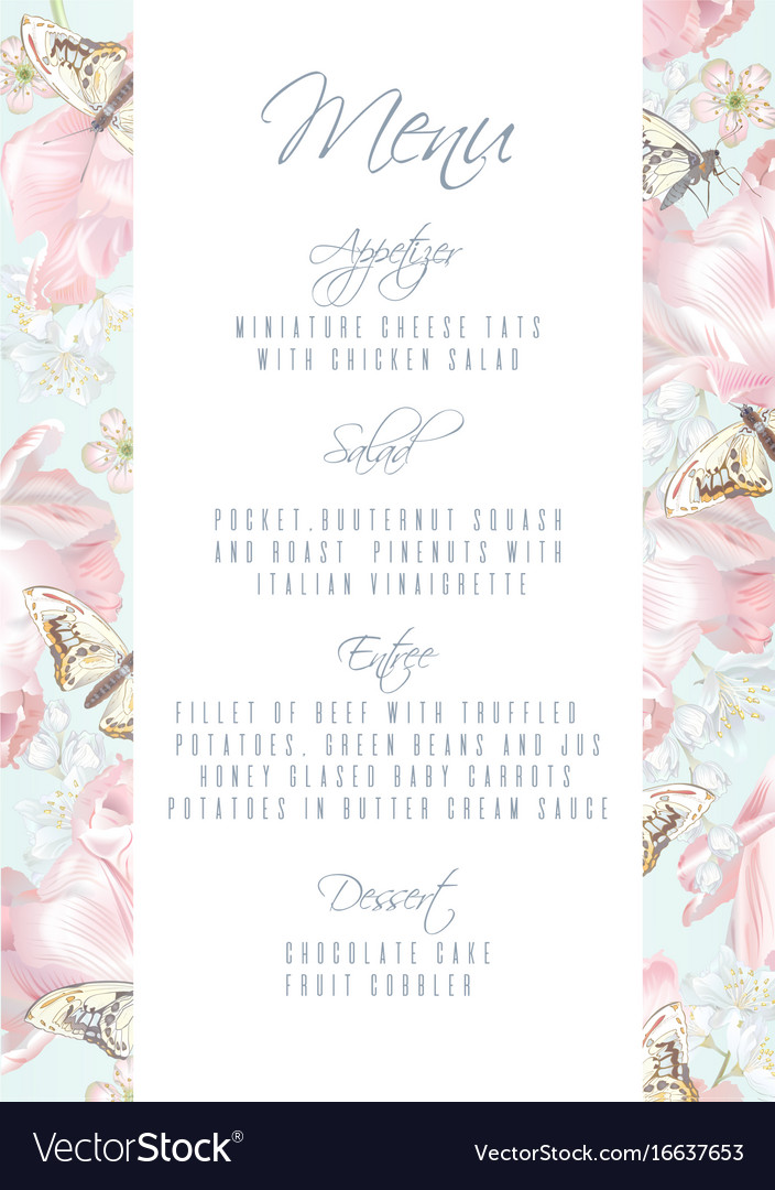 Tulip butterfly menu royalty free vector image tulip butterfly menu vector image mightylinksfo