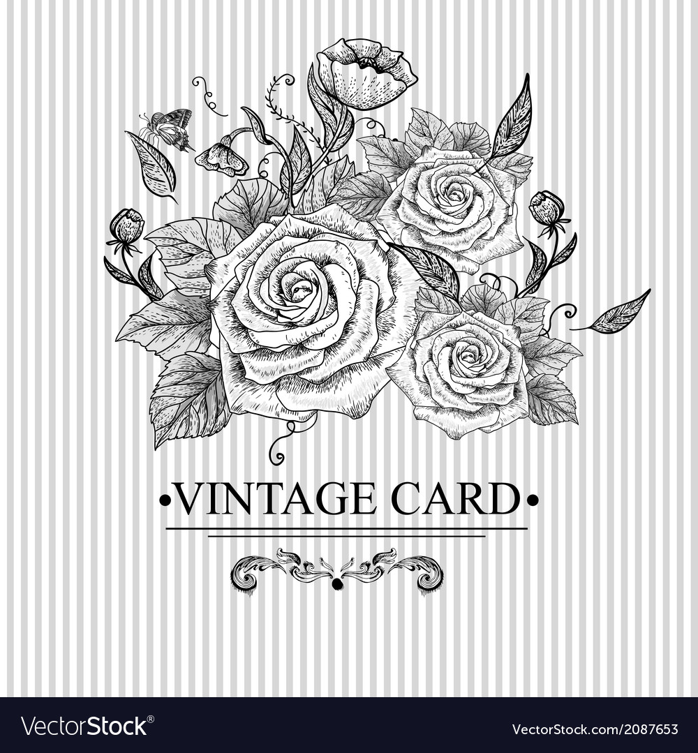 Vintage Floral Card with Roses and Butterflies