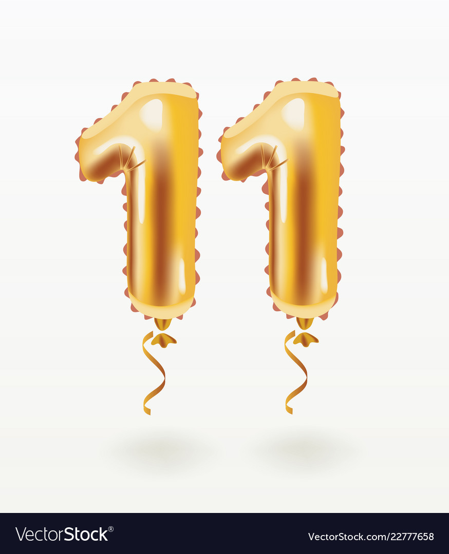 11 years golden aluminum foil balloon anniversary