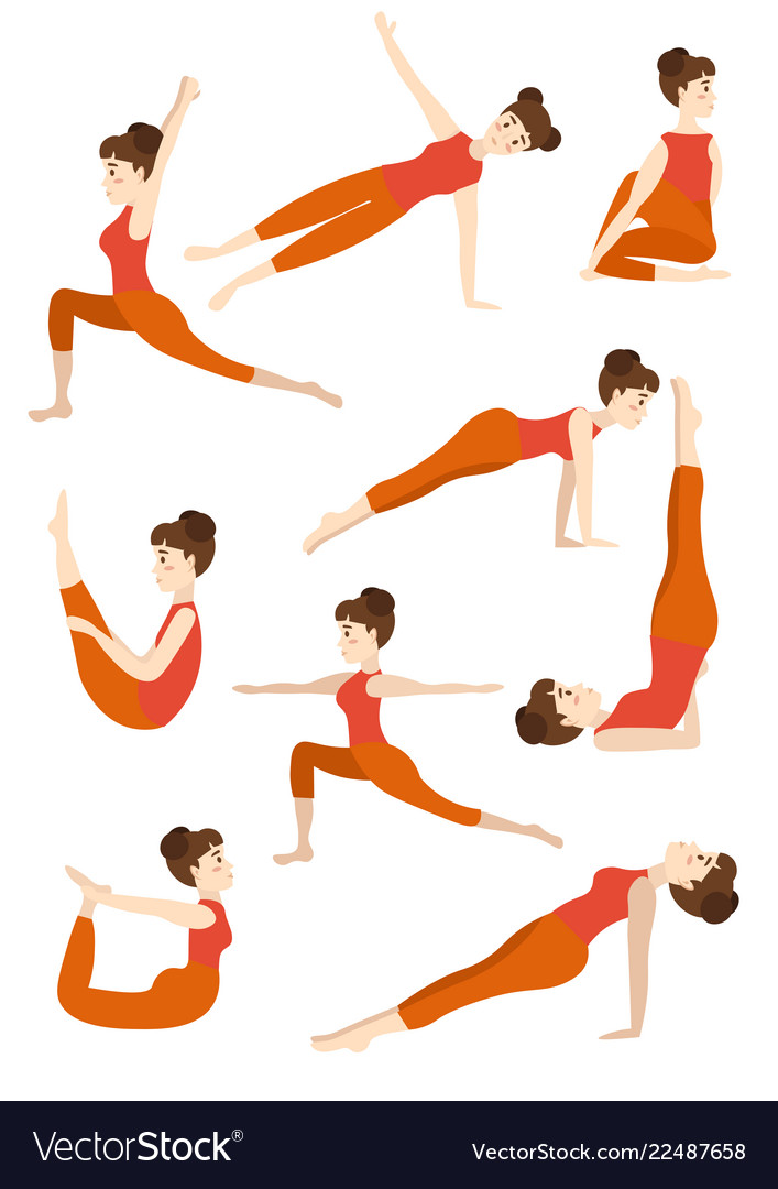 Athletic young girl doing yoga stands in the pose
