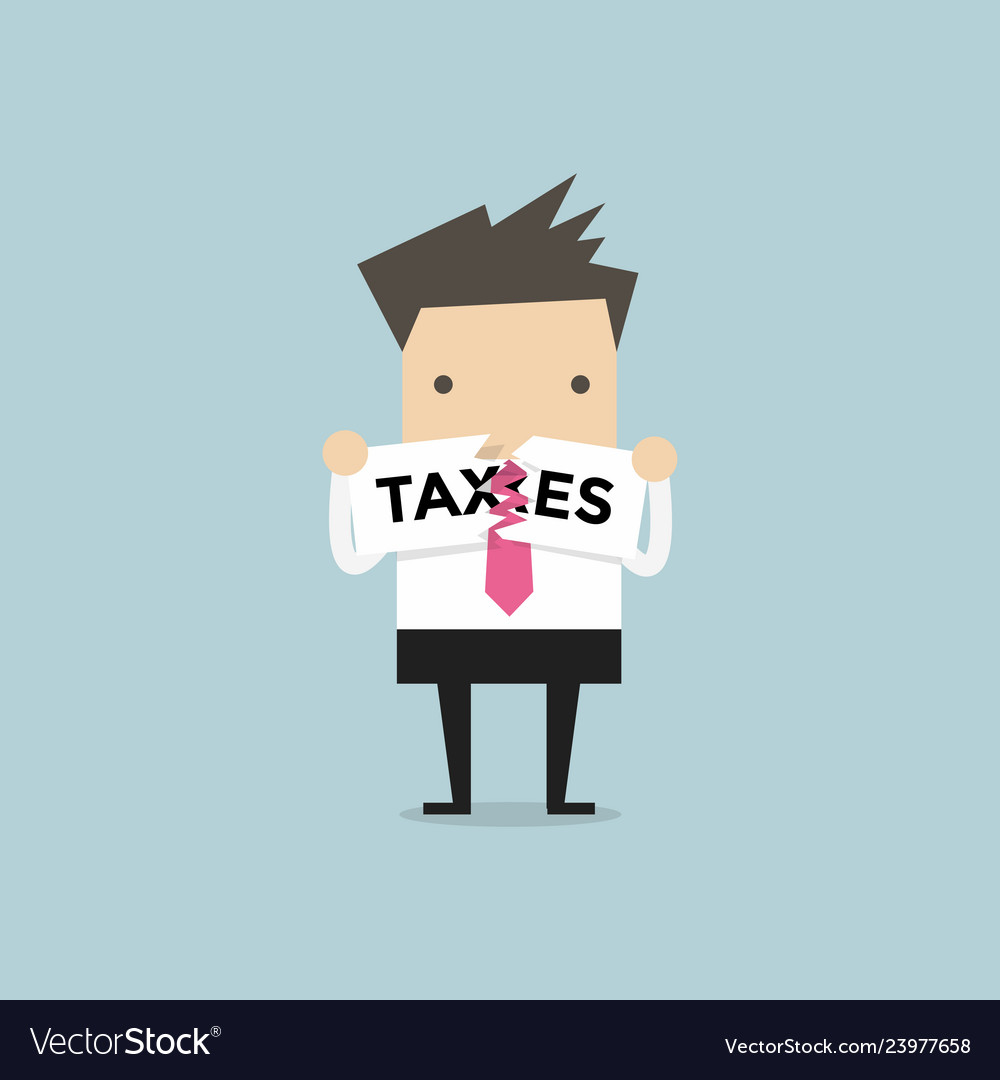 Businessman teared taxes paper