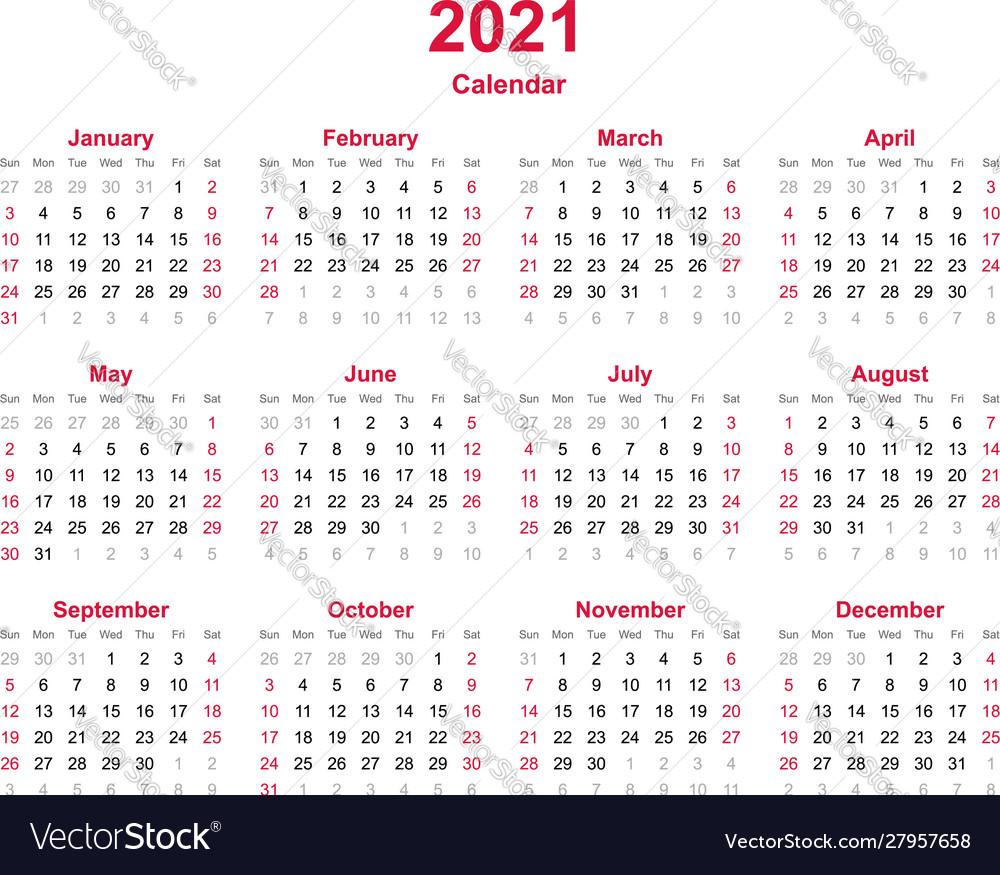 Calendar 2021 12 Months Yearly Calendar Vector Image