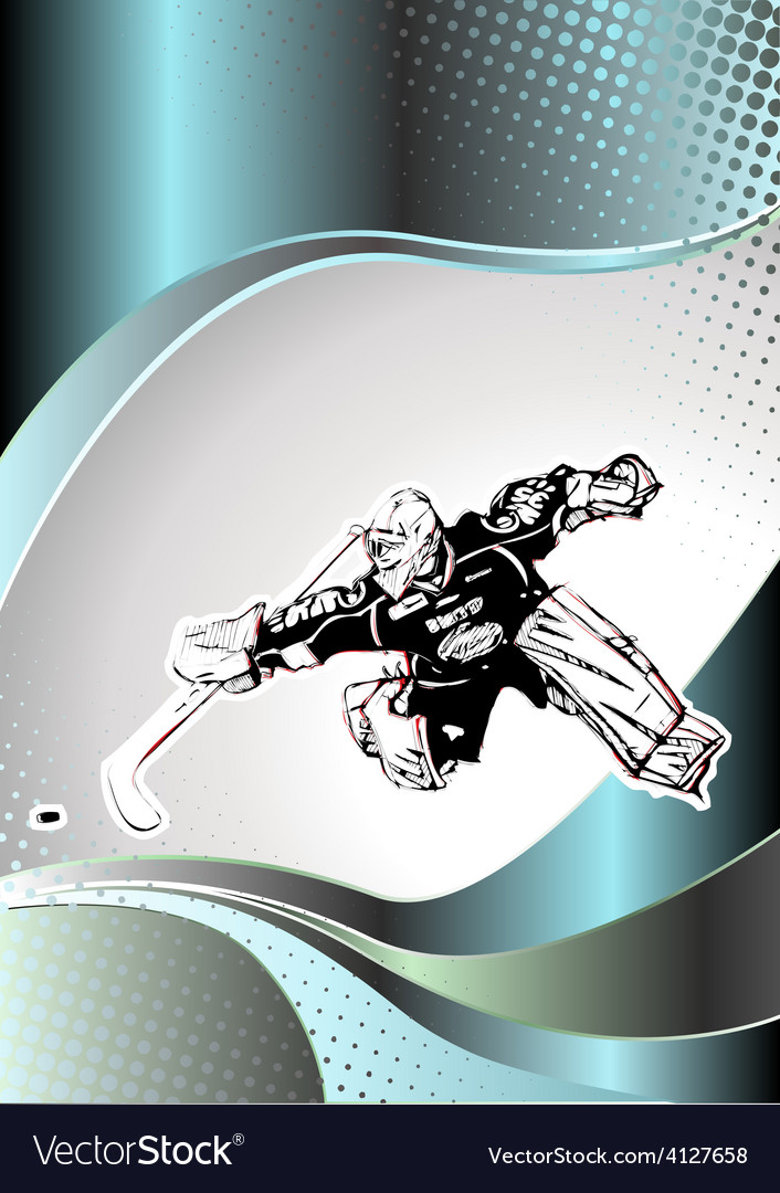 Chrome ice hockey poster background vector image