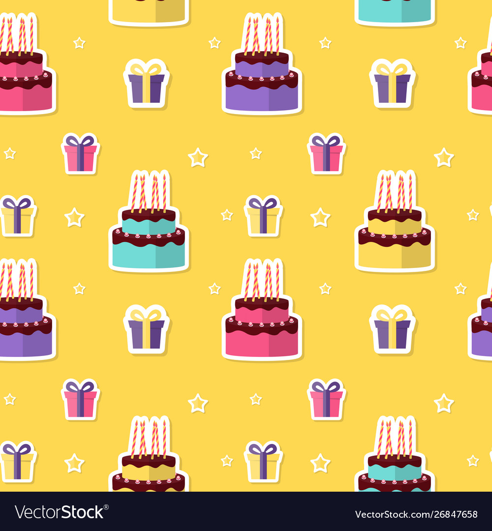 Happy birthday seamless pattern background with