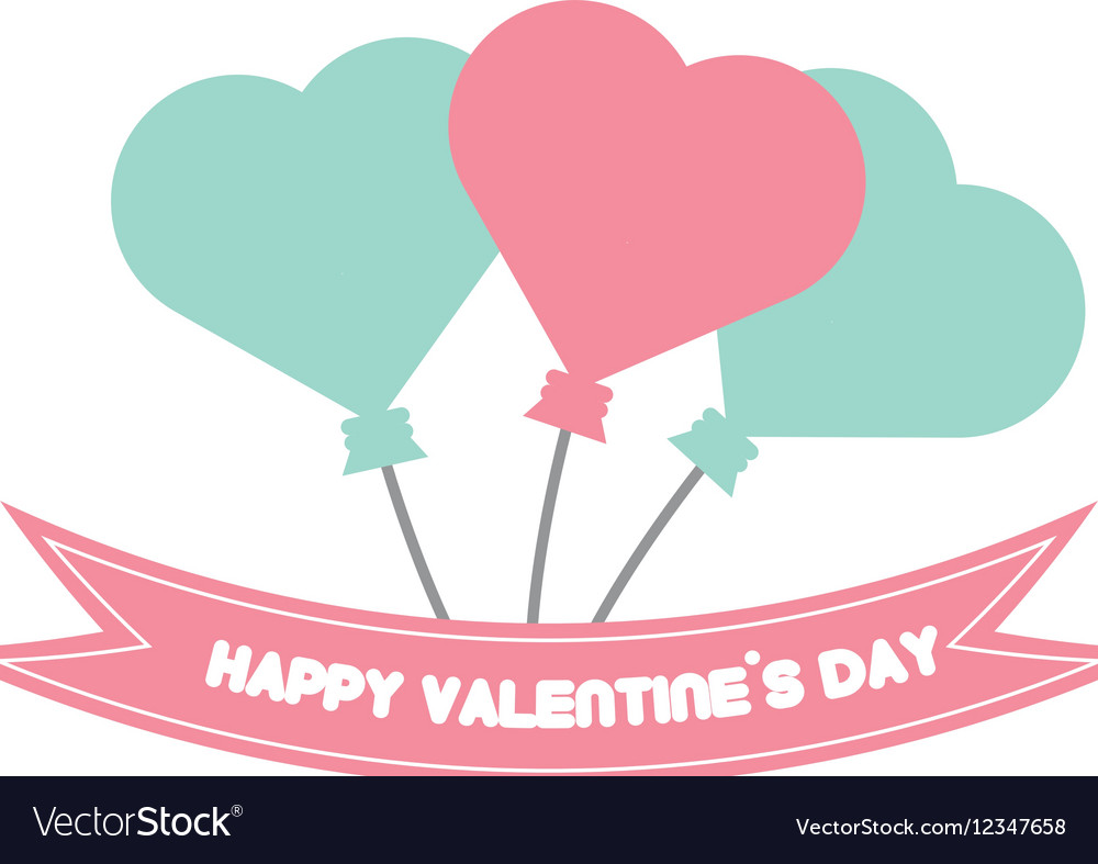 Happy Valentine Day Card Balloons Heart Pastel Vector Image