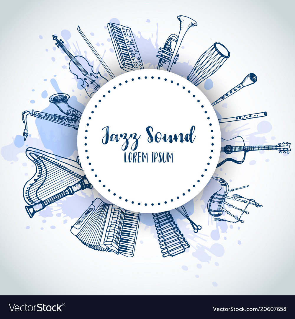 Jazz background music instruments banner design vector image