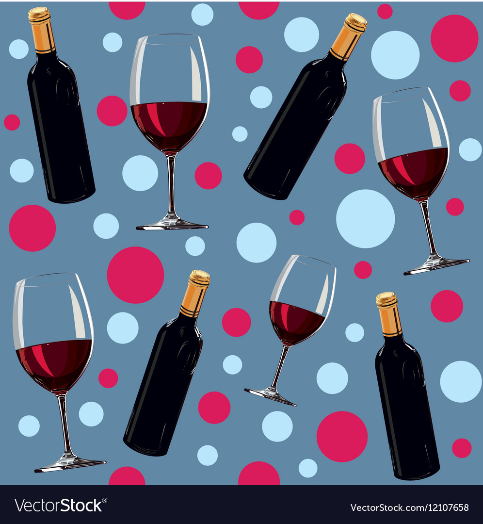 Seamless pattern with a bottle of wine and glass