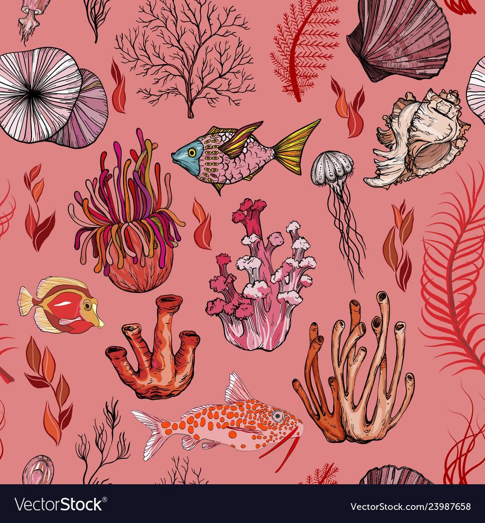 Seamless pattern with marine hand drawn corals