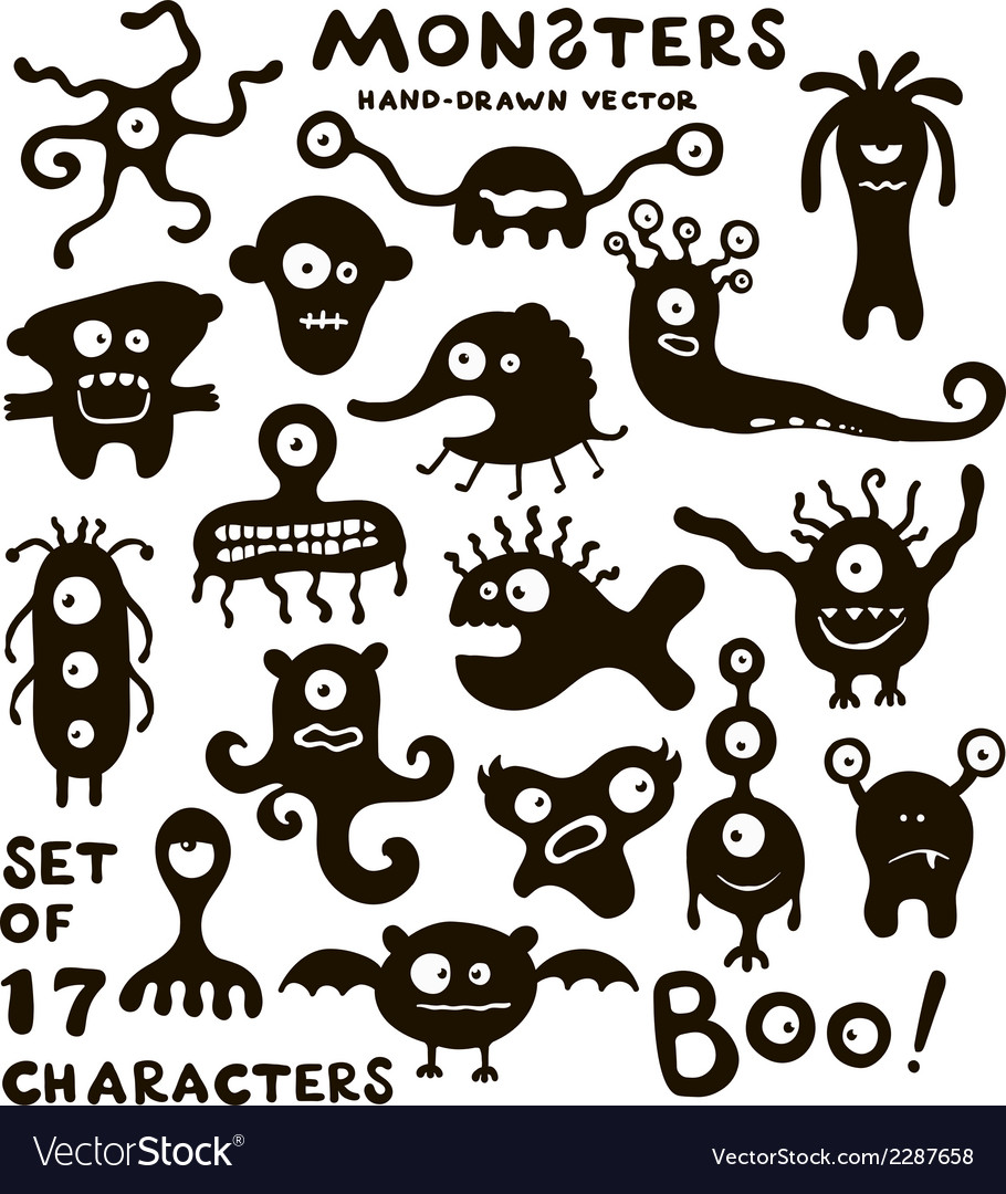 Set of funny monster characters