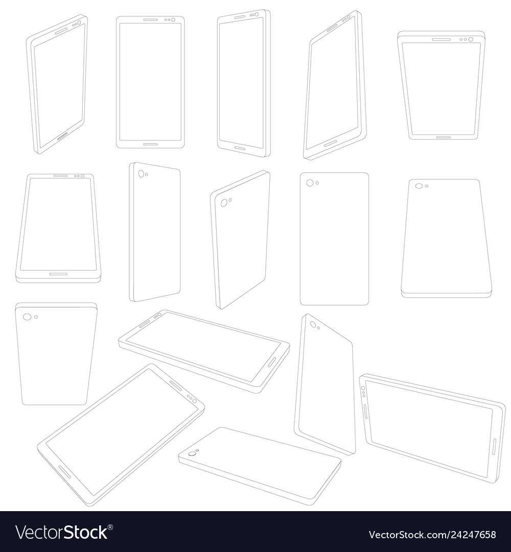 Set with contours of the cell phone phones with