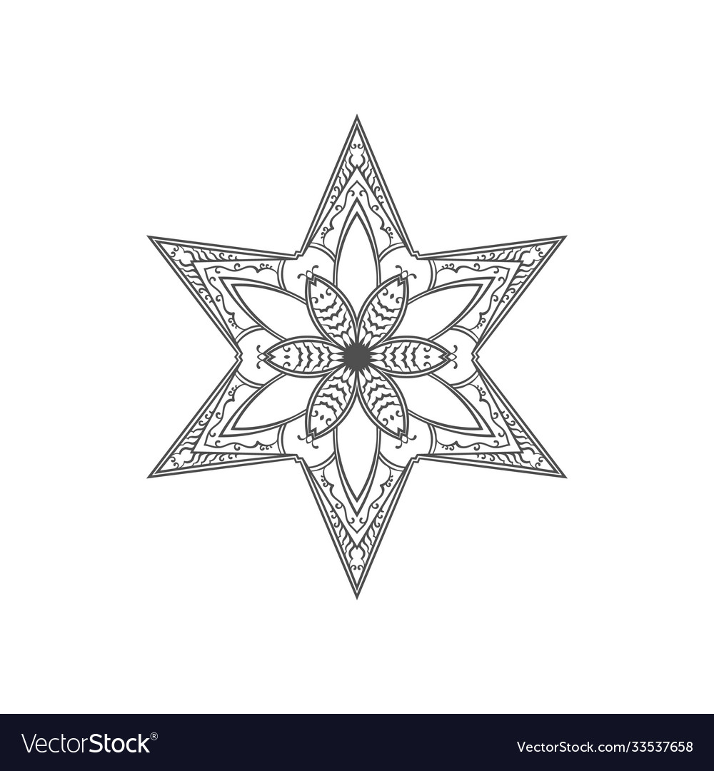 Six pointed star zentangle isolated design