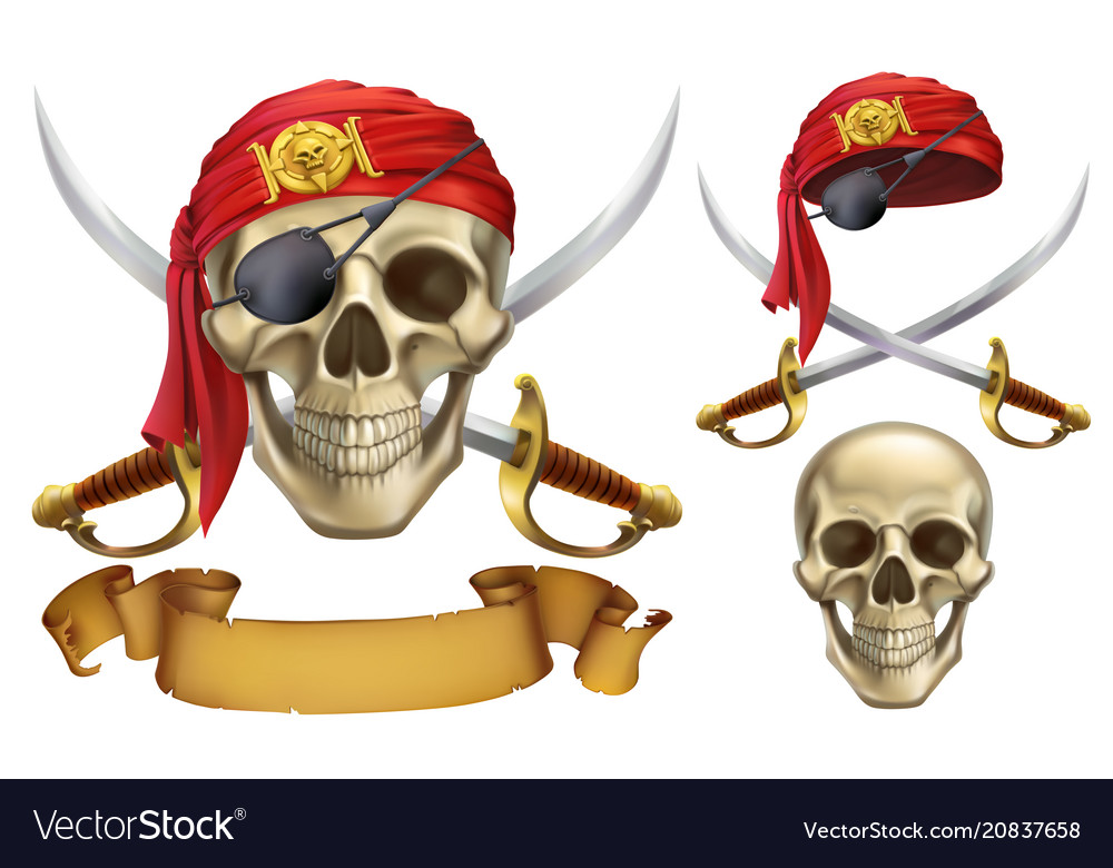 Skull and sabers pirate emblem 3d icon set
