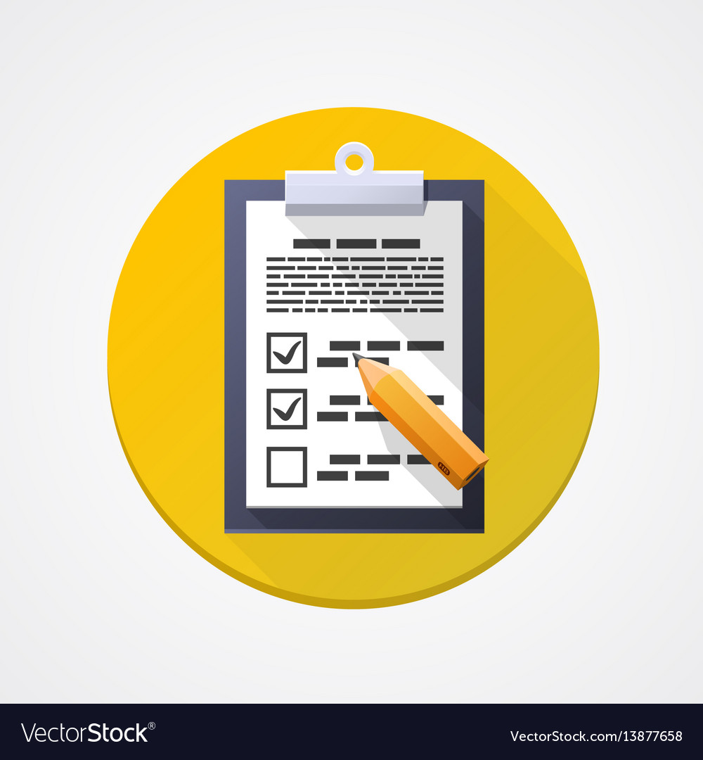 Survey flat icon pad document pencil