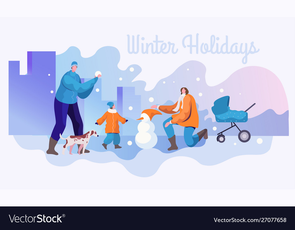 Winter holidays flat banner template