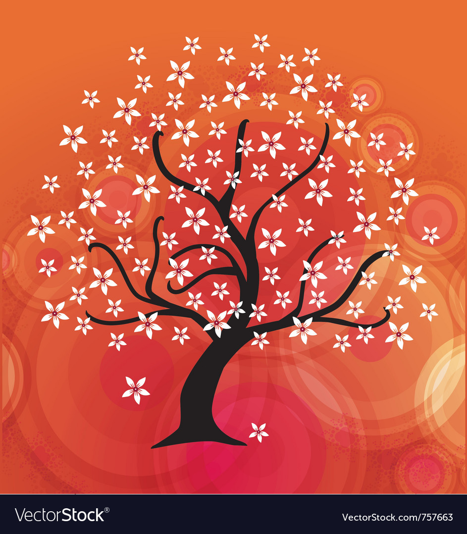 Abstract floral tree vector image