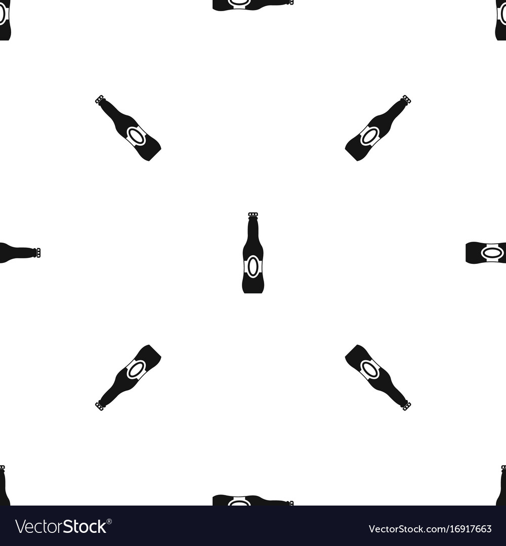 Bottle of beer pattern seamless black vector image