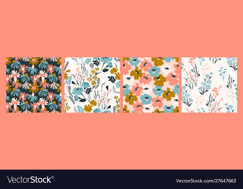 Floral abstract seamless patterns design