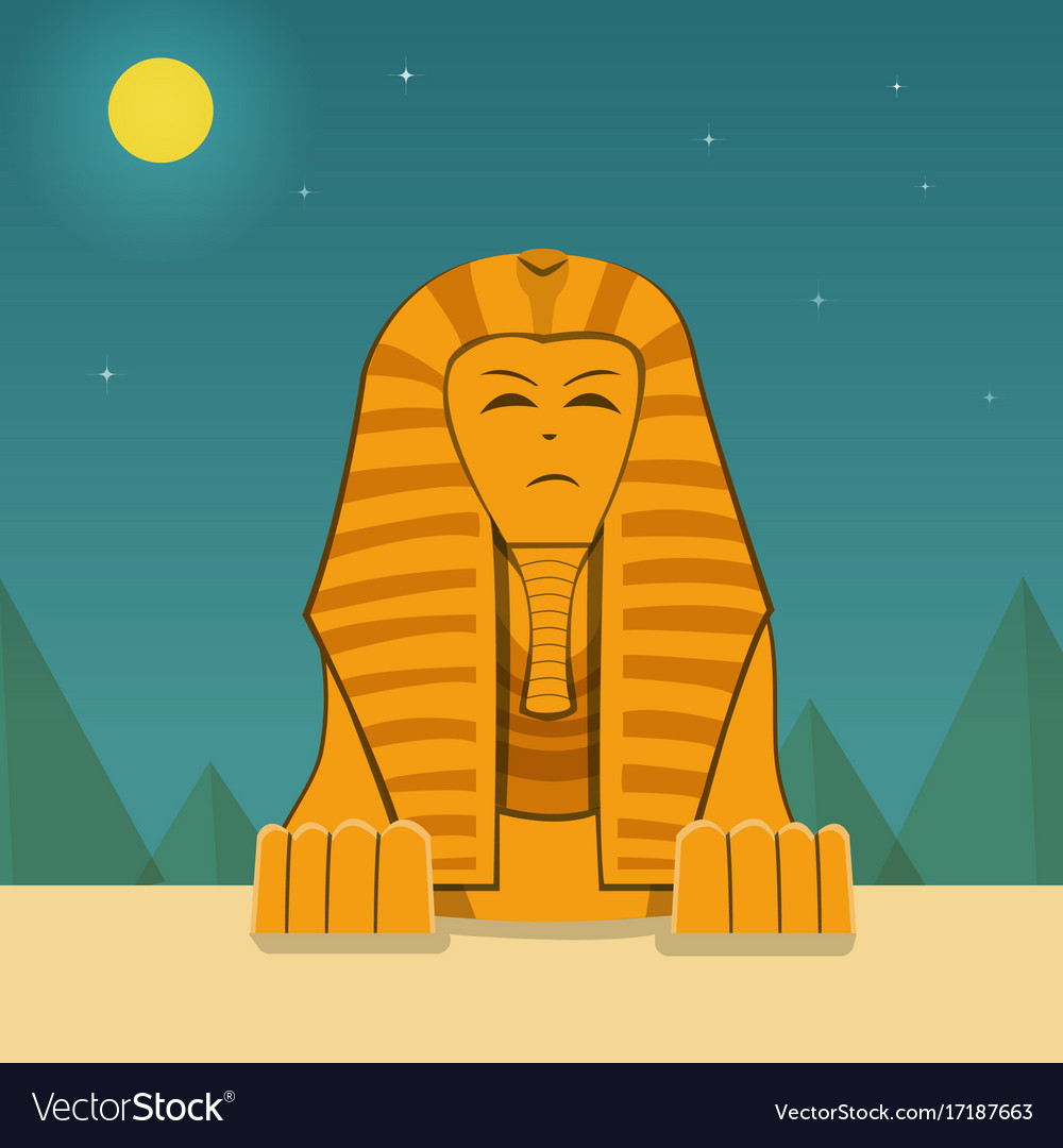Front view sphinx at night time landscape
