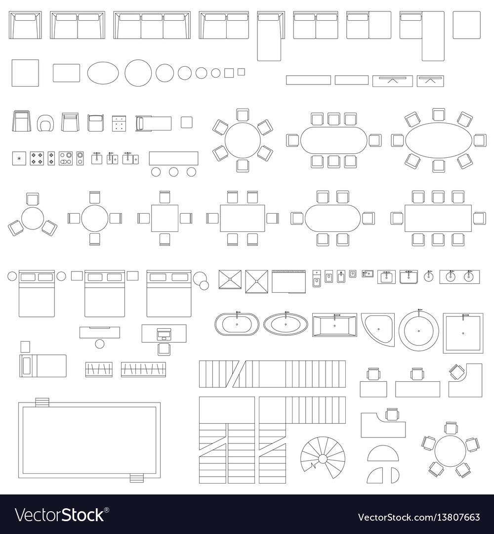 Furniture and elements line symbols