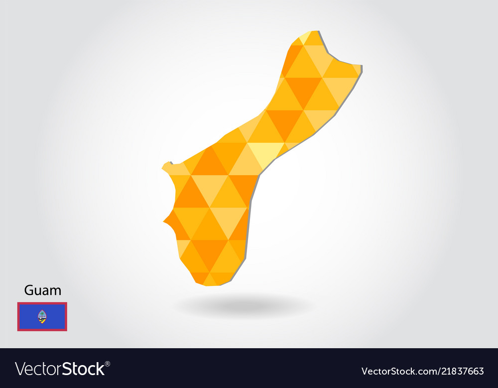 Geometric polygonal style map of guam low poly