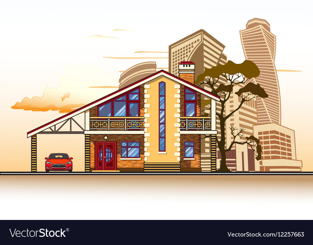 House high-rise buildings tree and clouds vector image