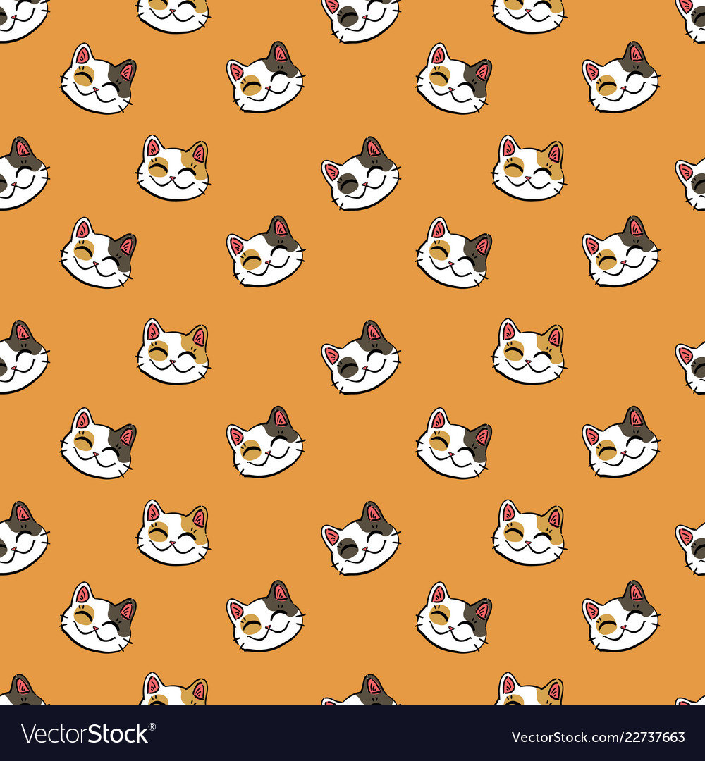 Pattern with colored lucky cat