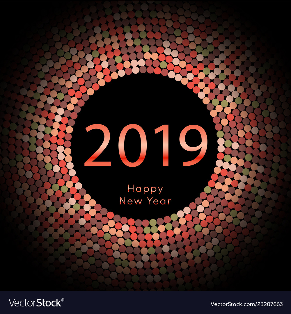 Red discoball new year 2019 greeting poster happy vector